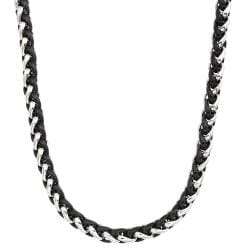 Two-tone Stainless Steel Men's 24-inch Wheat Chain Necklace