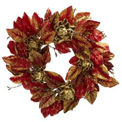 Burgundy and Gold 24-inch Artichoke Wreath