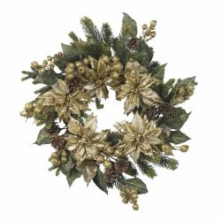 Golden Poinsettia Wreath