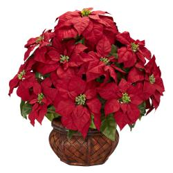 Poinsettia w/ Decorative Planter Silk Flower Arrangement