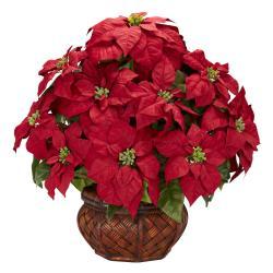 Poinsettia w/ Decorative Planter Silk Flower Arrangement