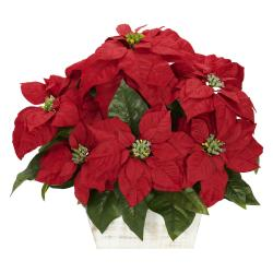 Poinsettia with White Wash Planter Silk Flower Arrangement