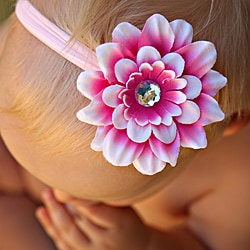 Infant Pink-Cream Flower Nylon Headband