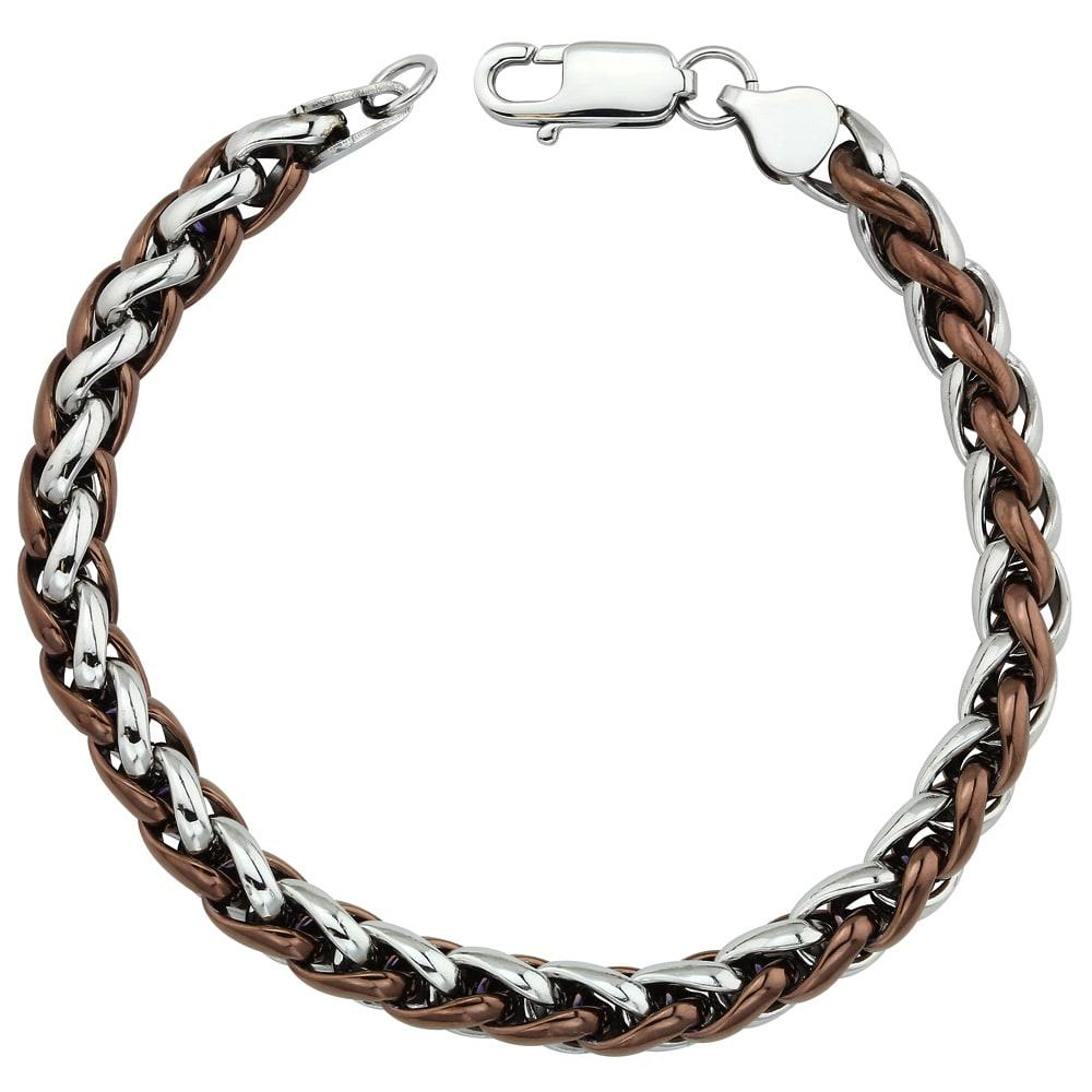 Two-tone Stainless Steel Men's 8.5-inch Wheat Chain Bracelet