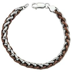 Two-tone Stainless Steel Men's 8.5-inch Wheat Chain Bracelet