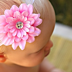 Infant Pink Flower and Nylon Headband