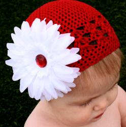 Red and White Holiday Five-piece Crocheted Kufi Hat Set