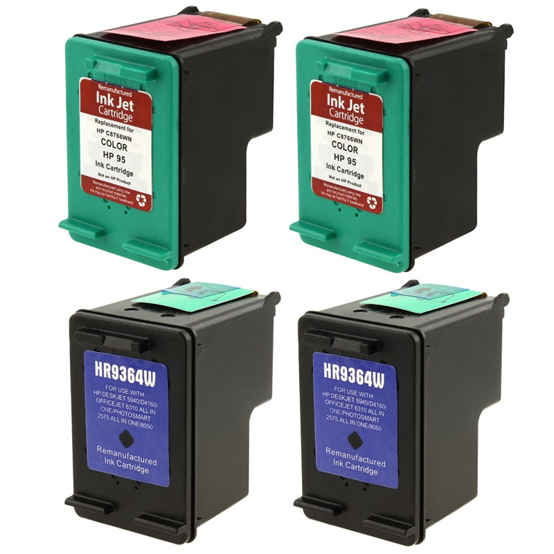 INSTEN HP 95/ 98 Black/ Tri-color Ink Cartridge (Remanufactured) (Pack of 4)