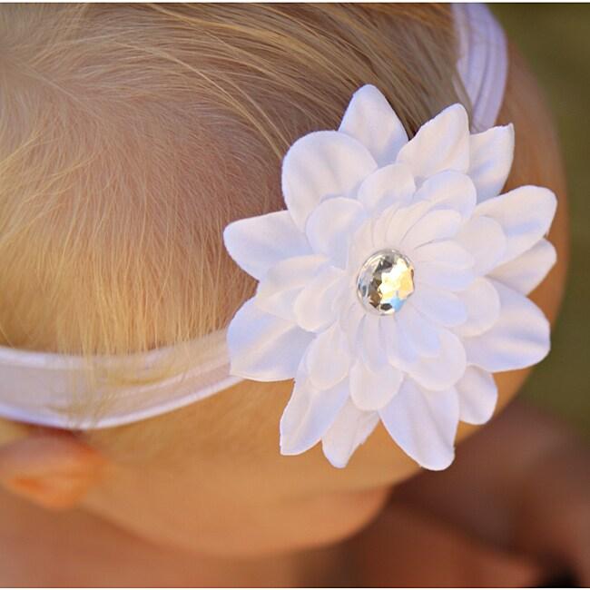 Infant White Flower Nylon Headband