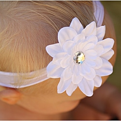 Infant White Flower Nylon Headband