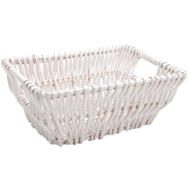 Small White Rectangular-shaped Contemporary Woven-wicker Basket