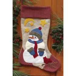 Rachels of Greenfield Snowman Stocking Woolfelt Applique Kit (10x15.5)