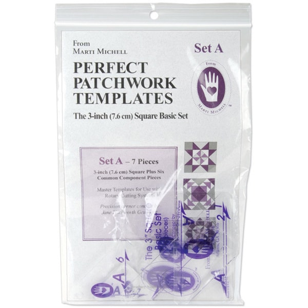 Perfect Patchwork Template Set A 3-inch Basic Square Set (Pack of 7)