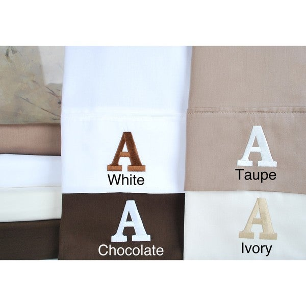 Egyptian Cotton 300 Thread Count Solid Block 'A' Monogram Sheet Set