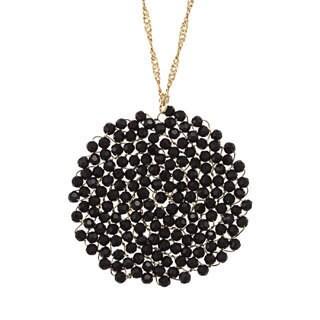 NEXTE Jewelry Goldtone Oynx Swirling Cyclone Necklace