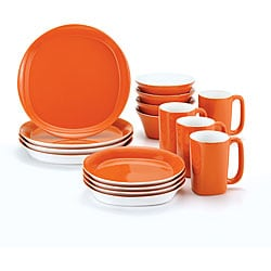 Rachael Ray Dinnerware Round and Square 16-piece Dinnerware Set, Orange