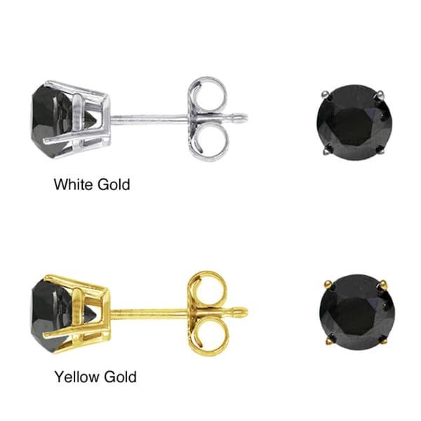 14k Gold 2ct TDW Black Diamond Single Earring