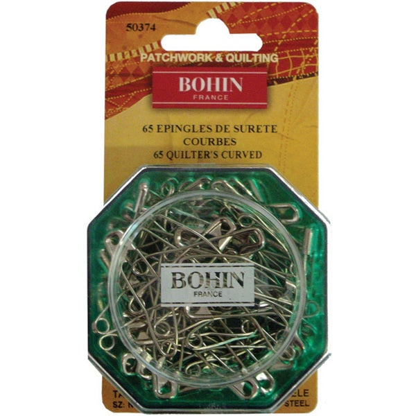 Bohin Quilter's Curved Safety Pins (Pack of 65)