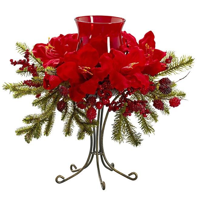 Amaryllis Candelabrum Silk Flower Arrangement 13906883