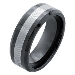Men's Tungsten Ceramic Laser -Etched Band (8 mm)