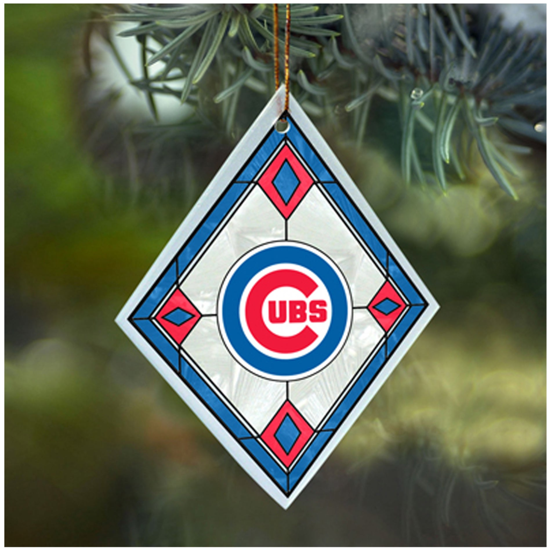 Chicago Cubs MLB Art Glass Ornament