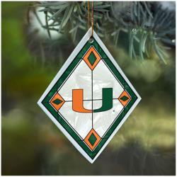 Miami Hurricanes NCAA Art Glass Ornament