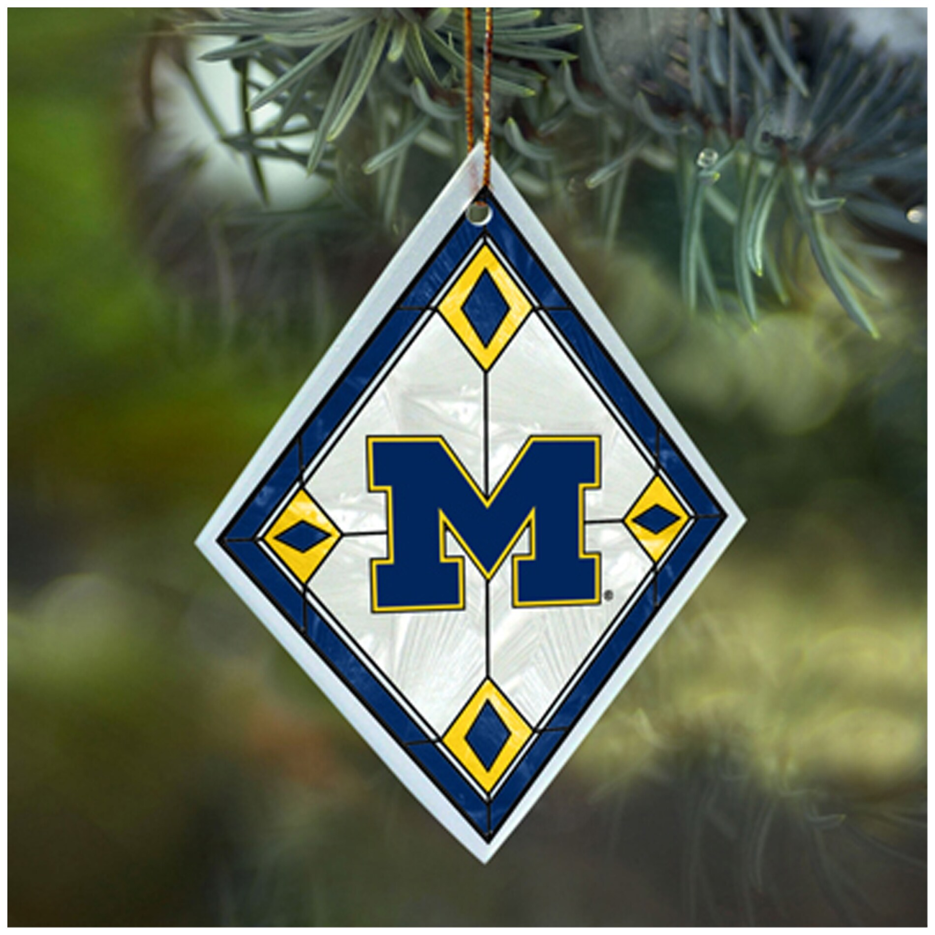 Michigan Wolverines NCAA Art Glass Ornament