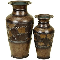 Rustic Brown Decorative 2-piece Metal Vase Set