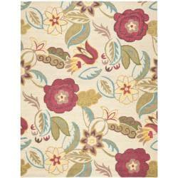 Handmade Blossom Paisley Beige Wool Rug (8' x 10')