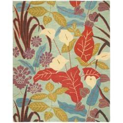 Handmade Blossom Blue Wool Rug (8'9 x 12')
