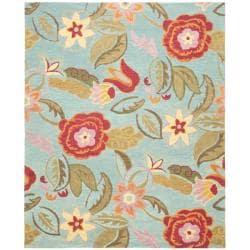 Handmade Blossom Blue Wool Area Rug (5' x 8')