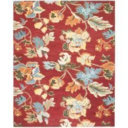 "Handmade Blossom Red Wool Area Rug (8'9"" x 12')"
