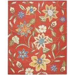 Handmade Blossom Rust Wool Area Rug (5' x 8')