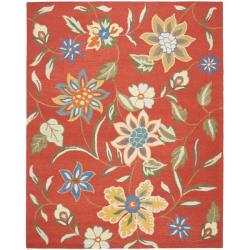Handmade Blossom Rust Wool Area Rug (8' x 10')