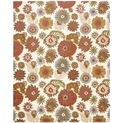 Handmade Blossom Ivory Wool Rug (8'9 x 12')