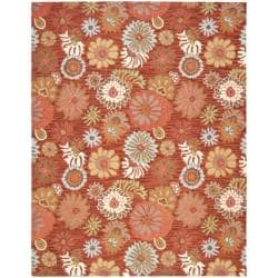 Handmade Blossom Red Wool Rug (8'9 x 12')