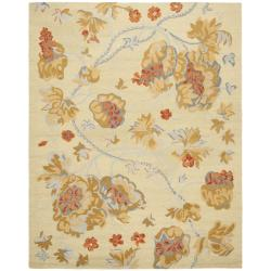 Handmade Blossom Beige Wool Rug with Cotton Canvas Backing (8' x 10')