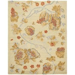 Safavieh Handmade Blossom Beige Wool Rug with Cotton Canvas Backing (8' x 10')