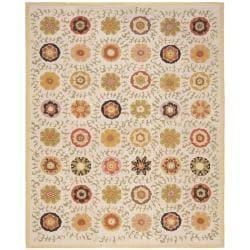 Safavieh Handmade Blossom Ivory Wool Rug (5' x 8')