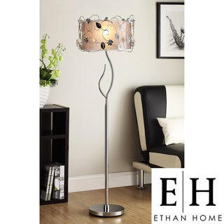 ETHAN HOME Floral 62-inch Silver Crystal Floor Lamp