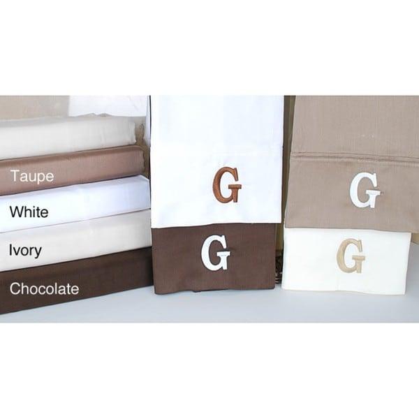 Egyptian Cotton 300 Thread Count Solid Block 'G' Monogram Sheet Set