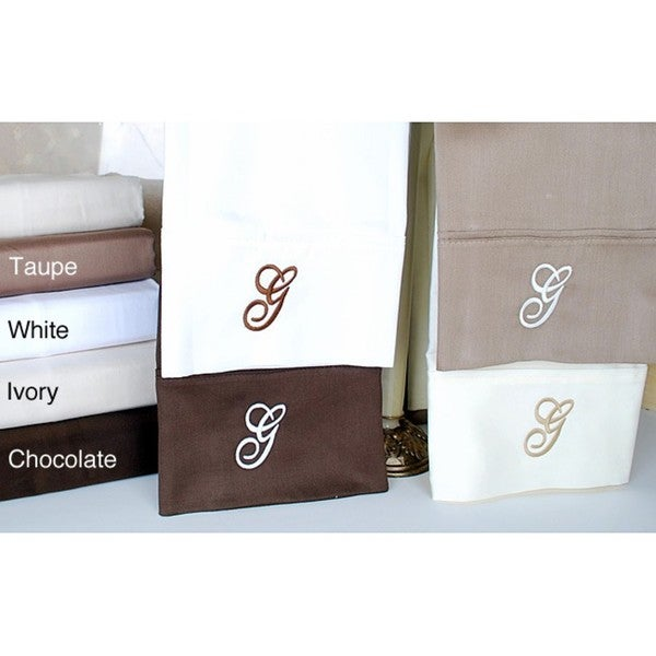 Luxor Treasures Egyptian Cotton 300 Thread Count Solid Script 'G' Monogram Sheet Set