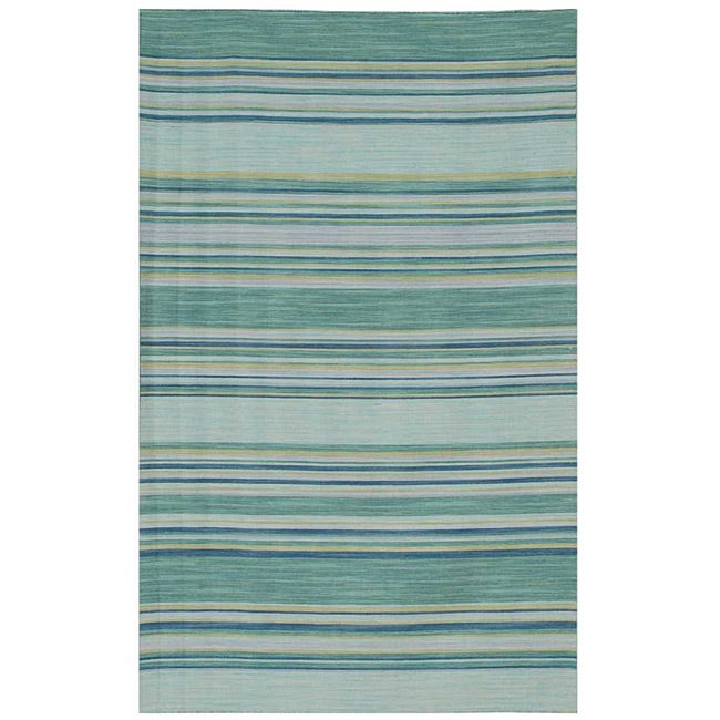Flat Weave Transitional Green/Blue Striped Wool Rug (8' x 10')