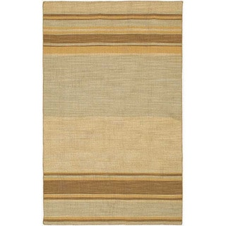 Flat Weave Green/ Blue Striped Wool Rug (8' x 10')