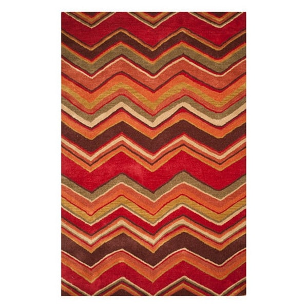Hand-tufted Red/ Brown Geometric Wool Rug (5' x 8')