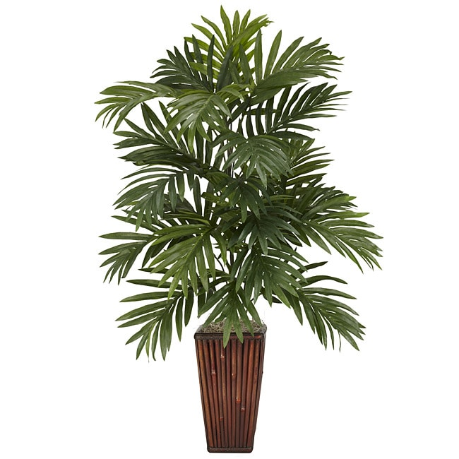 Areca Palm with Bamboo Vase Polyester Plant