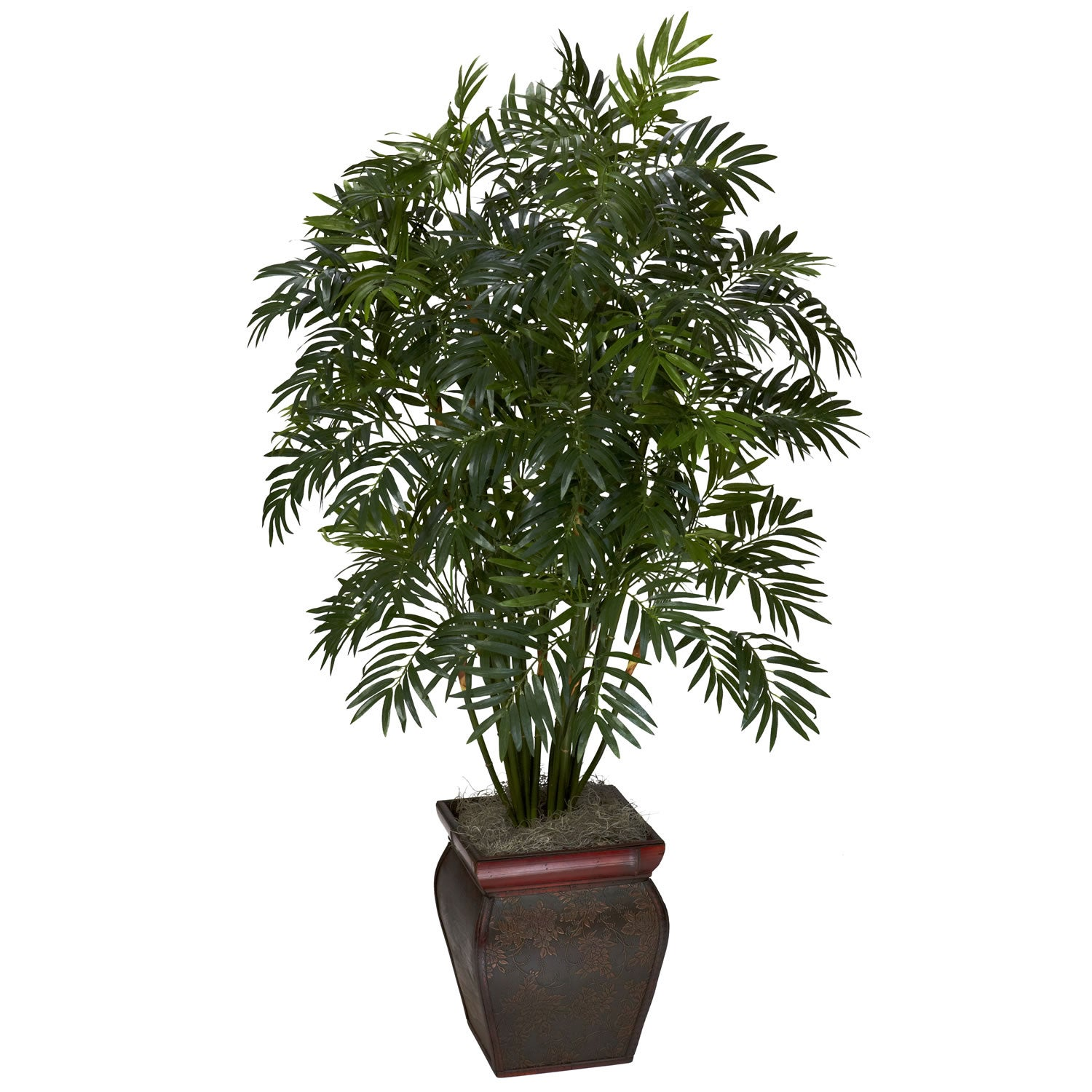 Mini Bamboo Palm w/ Decorative Vase Silk Plant