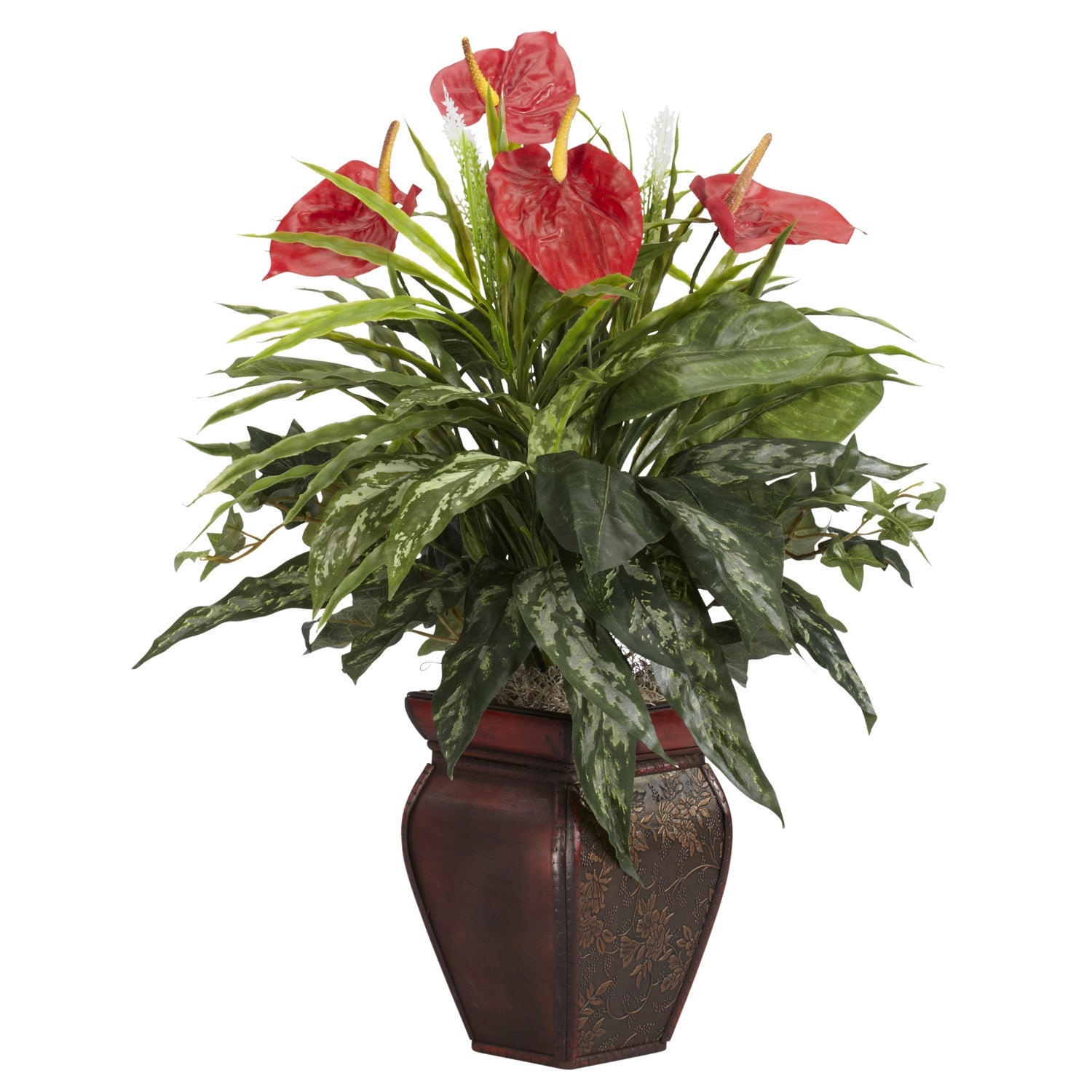 Mixed Greens and Anthurium with Decorative Vase Silk Plant
