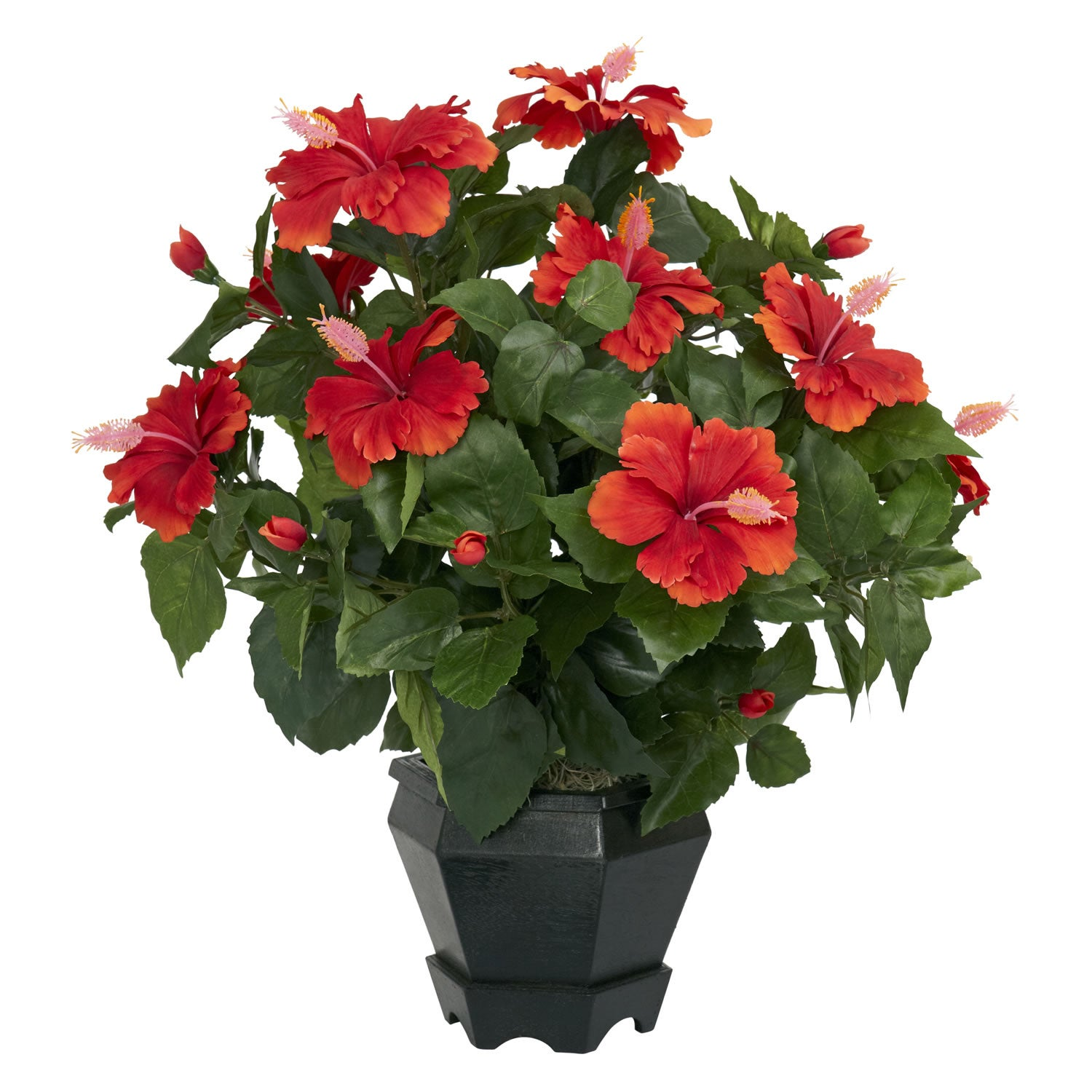 Hibiscus with Black Hexagon Vase Silk Plant