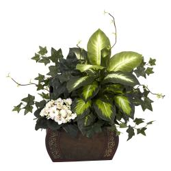 African Violet, Dieffenbachia and Ivy with Chest Silk Plant